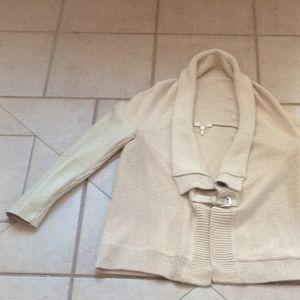 MAJE Leather Sleeve Sweater.    Sz 1